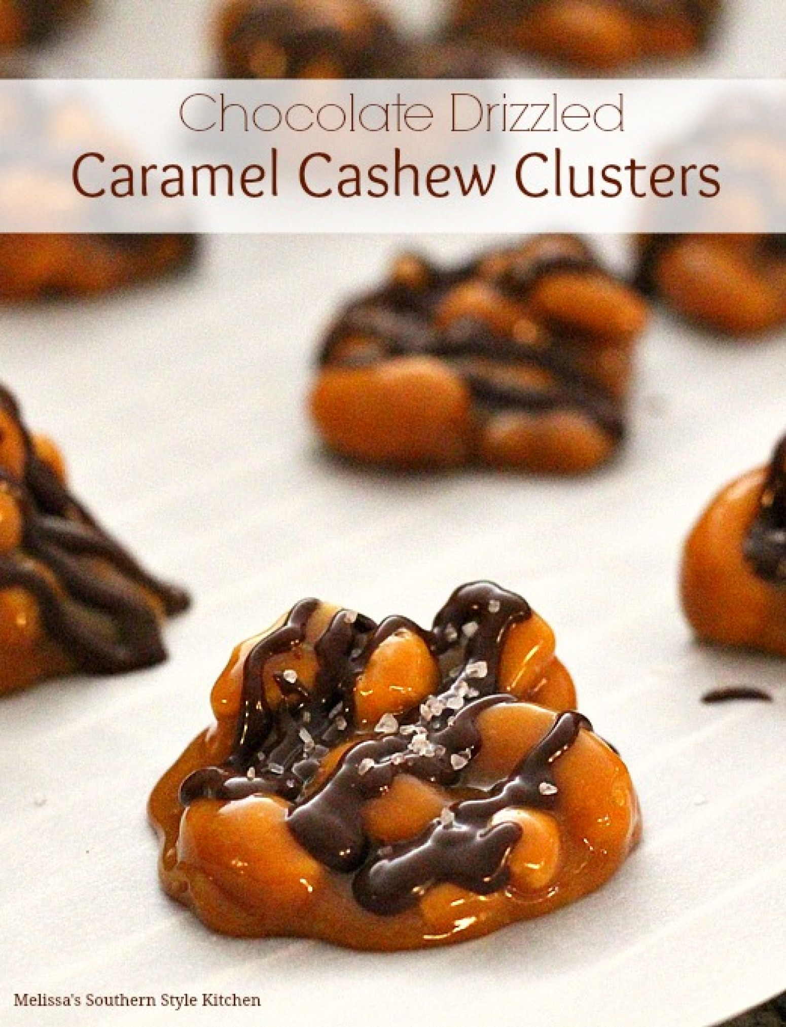 Chocolate Drizzled Caramel Cashew Clusters Recipe | Just A Pinch ...