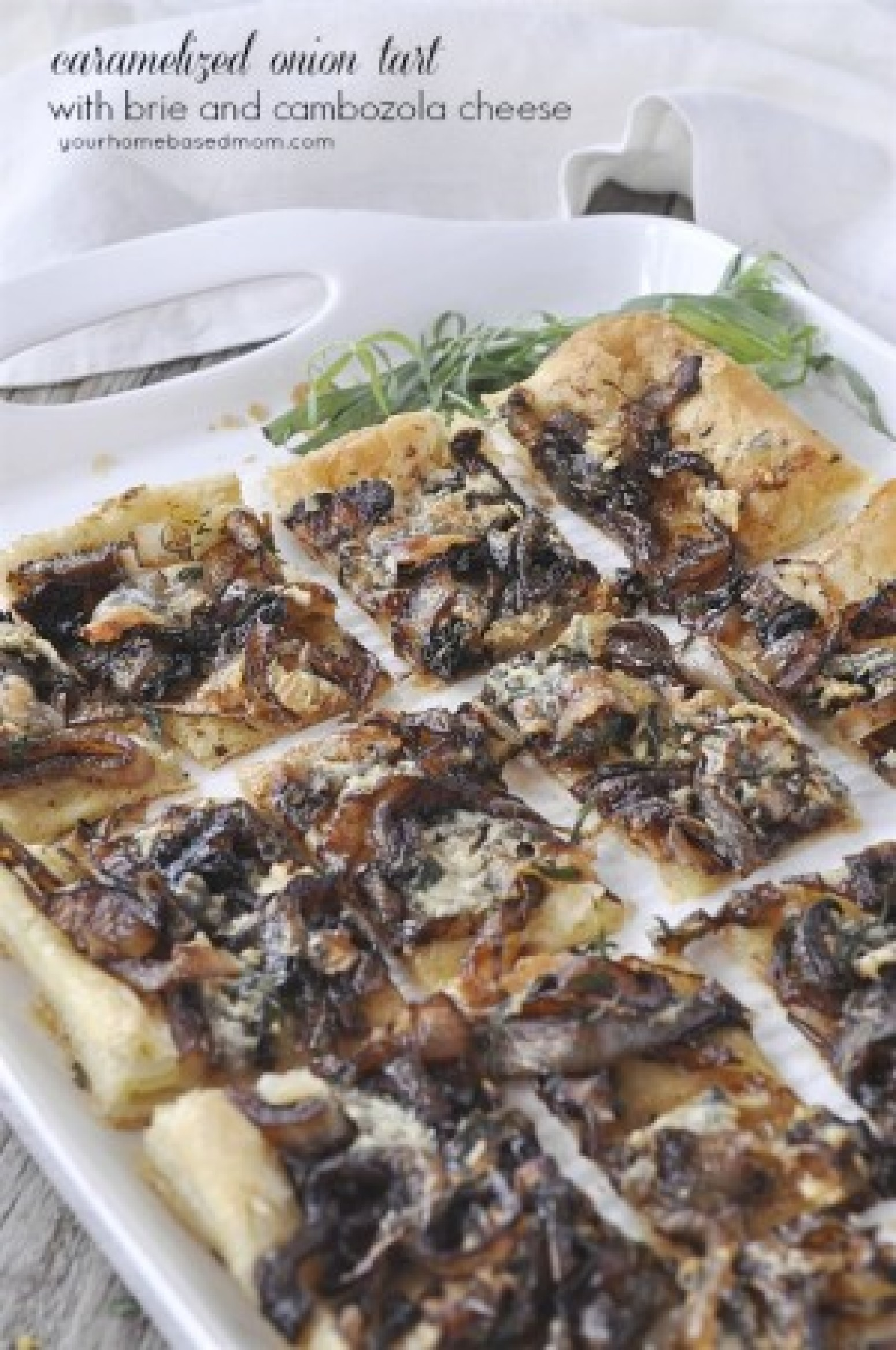 Caramelized Onion Tart with Brie and Cambozola Cheese Recipe | Just A ...