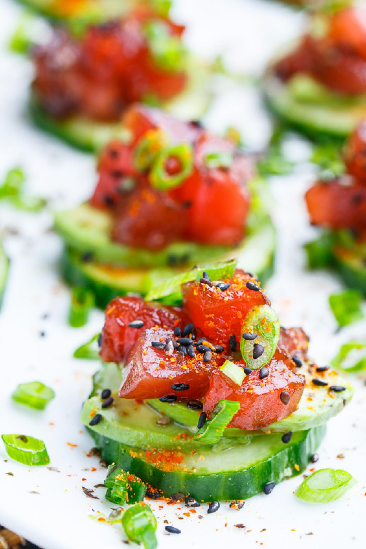 Spicy Tuna and Avocado Cucumber Sushi Bites Recipe | Just A Pinch ...