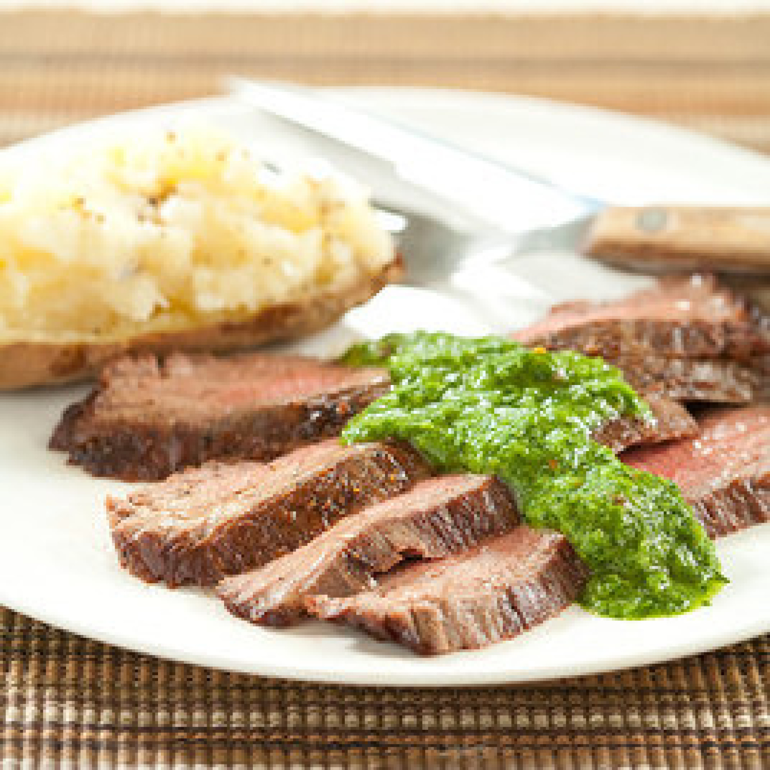 Seared Flank Steak with Chimichurri Sauce Recipe | Just A Pinch ...