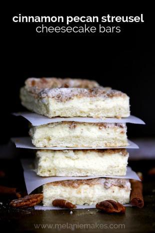 Cinnamon Pecan Streusel Cheesecake Bars