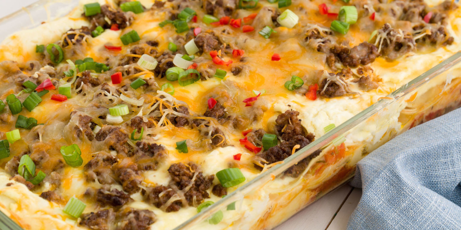 Cheesy Taco Lasagna Recipe | Just A Pinch Recipes