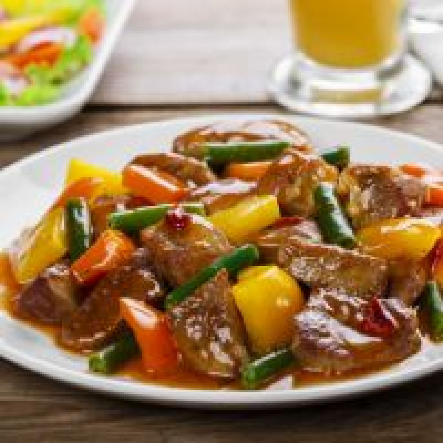 Spicy Pear Glazed Beef And Green Bean Stir Fry Recipe | Just A Pinch ...