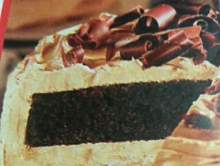 Moist chocolate-espresso cake w/ malted milk frost Recipe