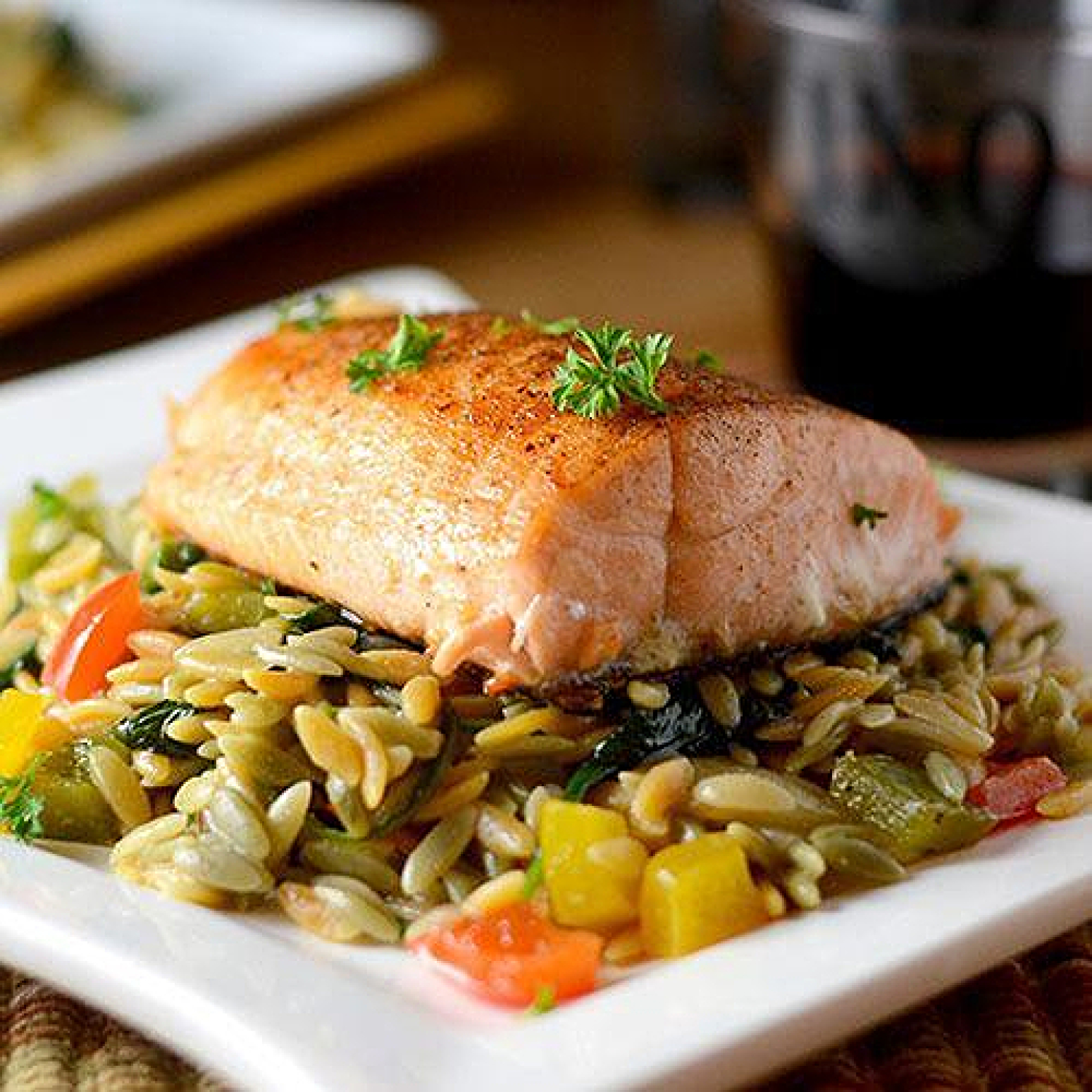 Grilled Salmon With Orzo Recipe