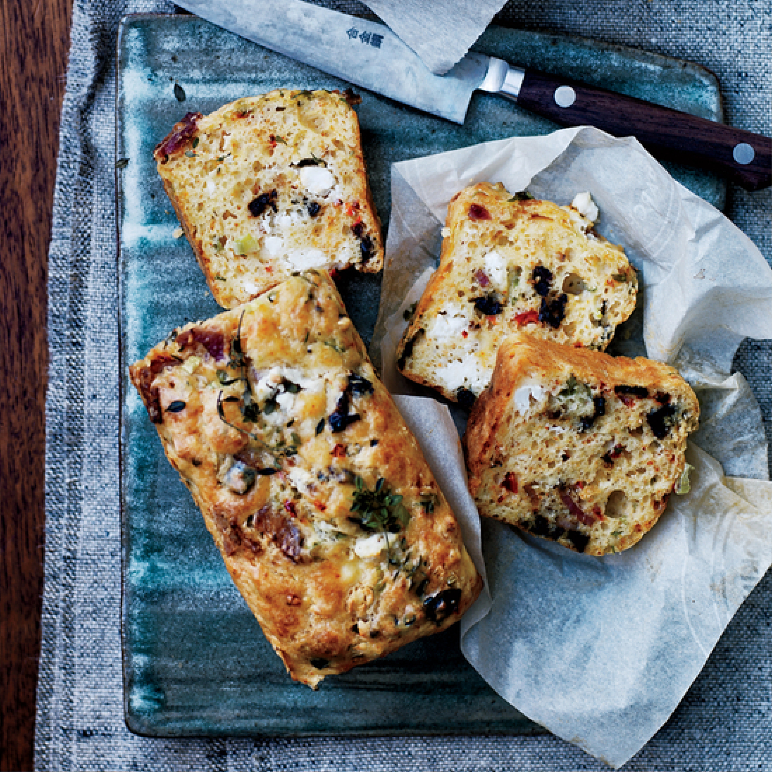 Goat Cheese Bacon and Olive Quick Bread Recipe | Just A Pinch Recipes