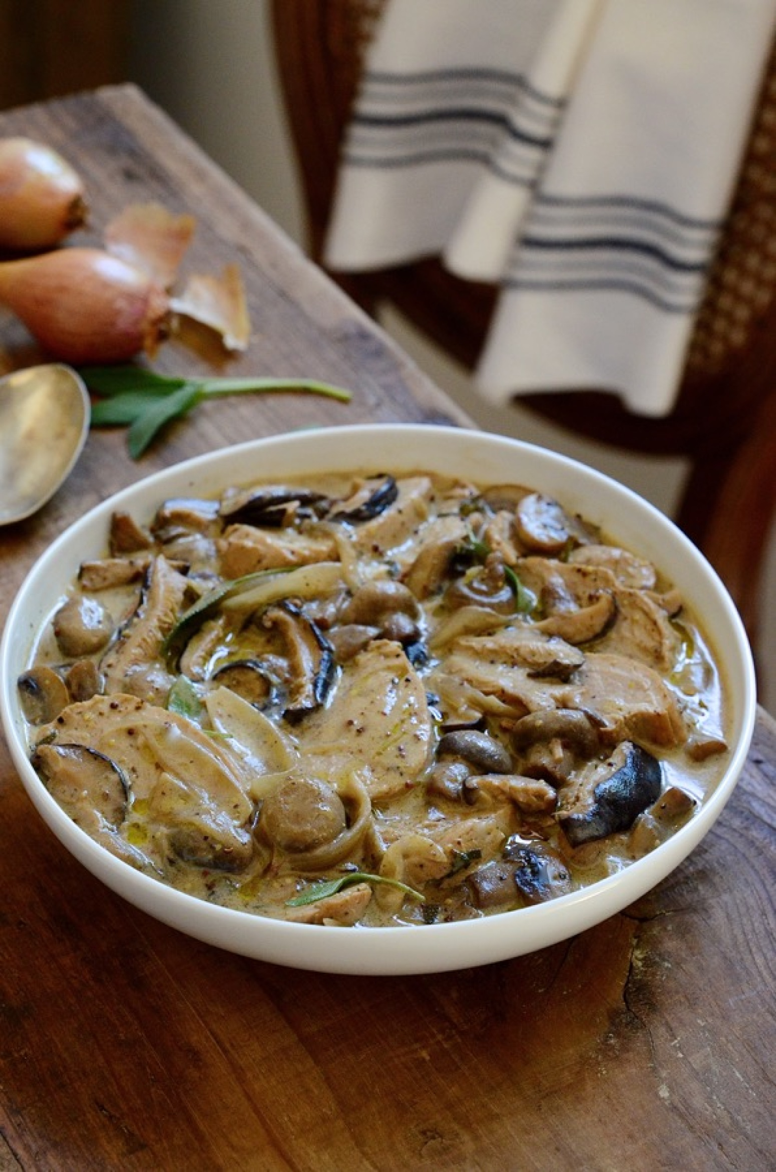 PORK AND SHALLOT CASSEROLE WITH SAGE AND MUSHROOMS Recipe ...