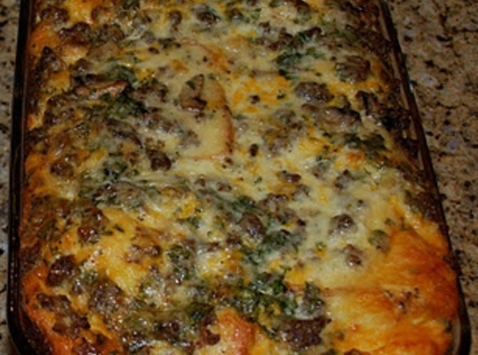 Breakfast Strata with Sausage and Monterey Jack Recipe | Just A Pinch ...