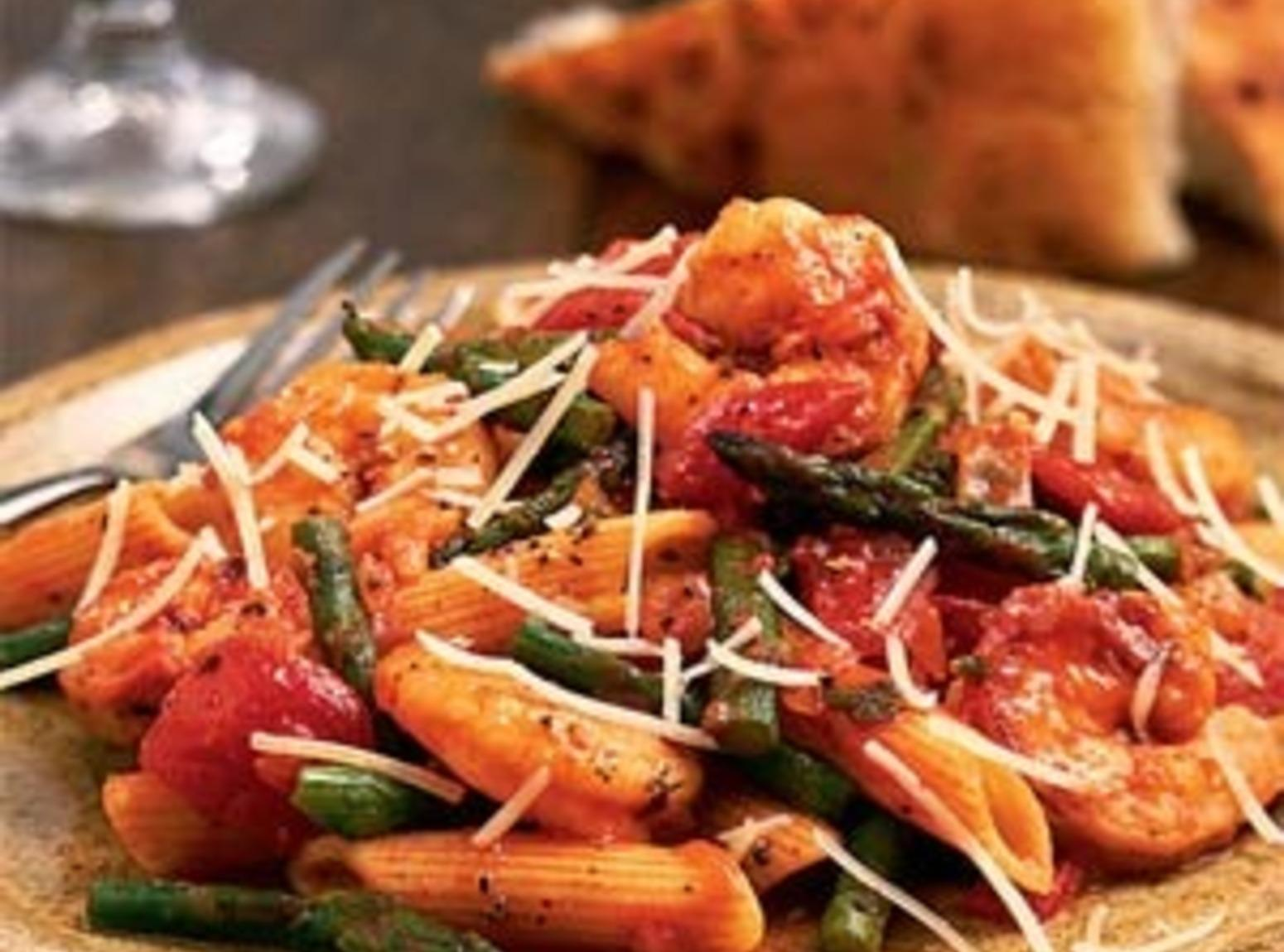 Shrimp Penne Pasta with Artichoke or Asparagus Recipe
