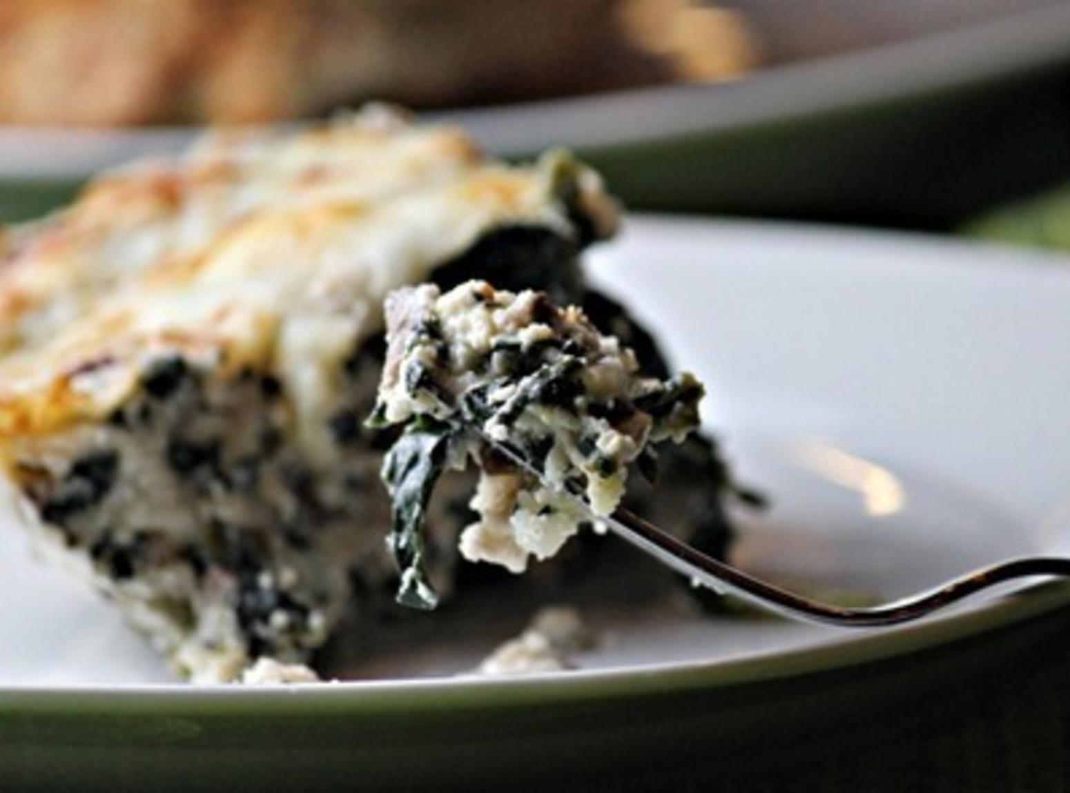 Crustless Spinach and Mushroom Quiche Recipe