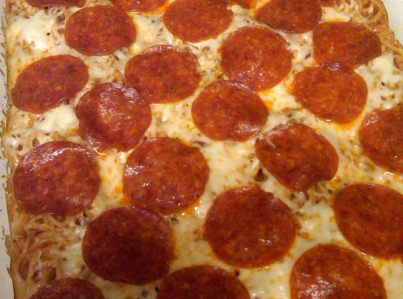 Spaghetti Pizza AKA Baked Spaghetti Recipe