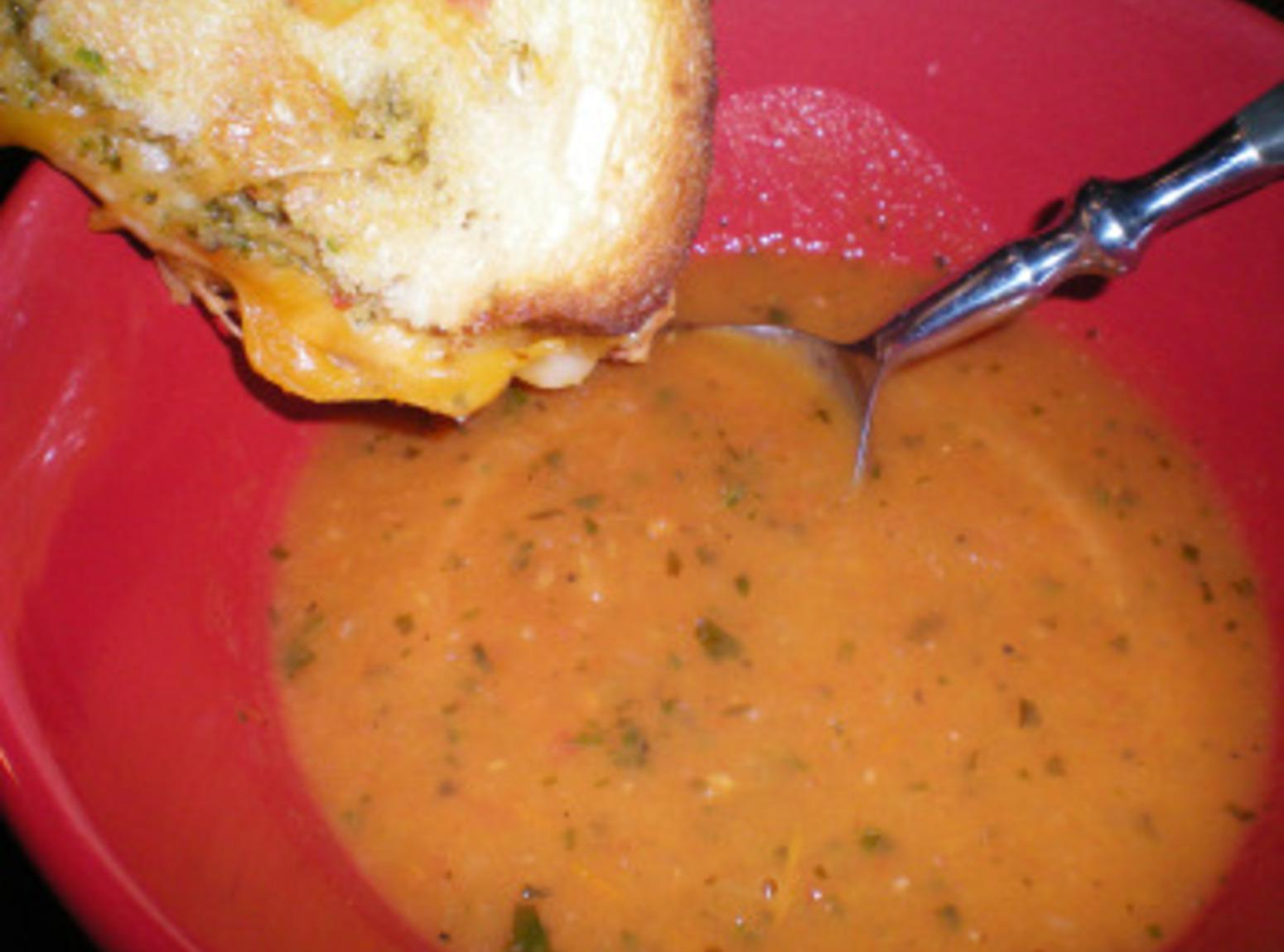 Roasted Tomato Soup and Grilled Cheese Sandwich Recipe | Just A Pinch ...