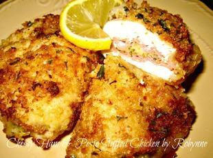 Cheesy Ham & Pesto Stuffed Chicken~Robynne Recipe