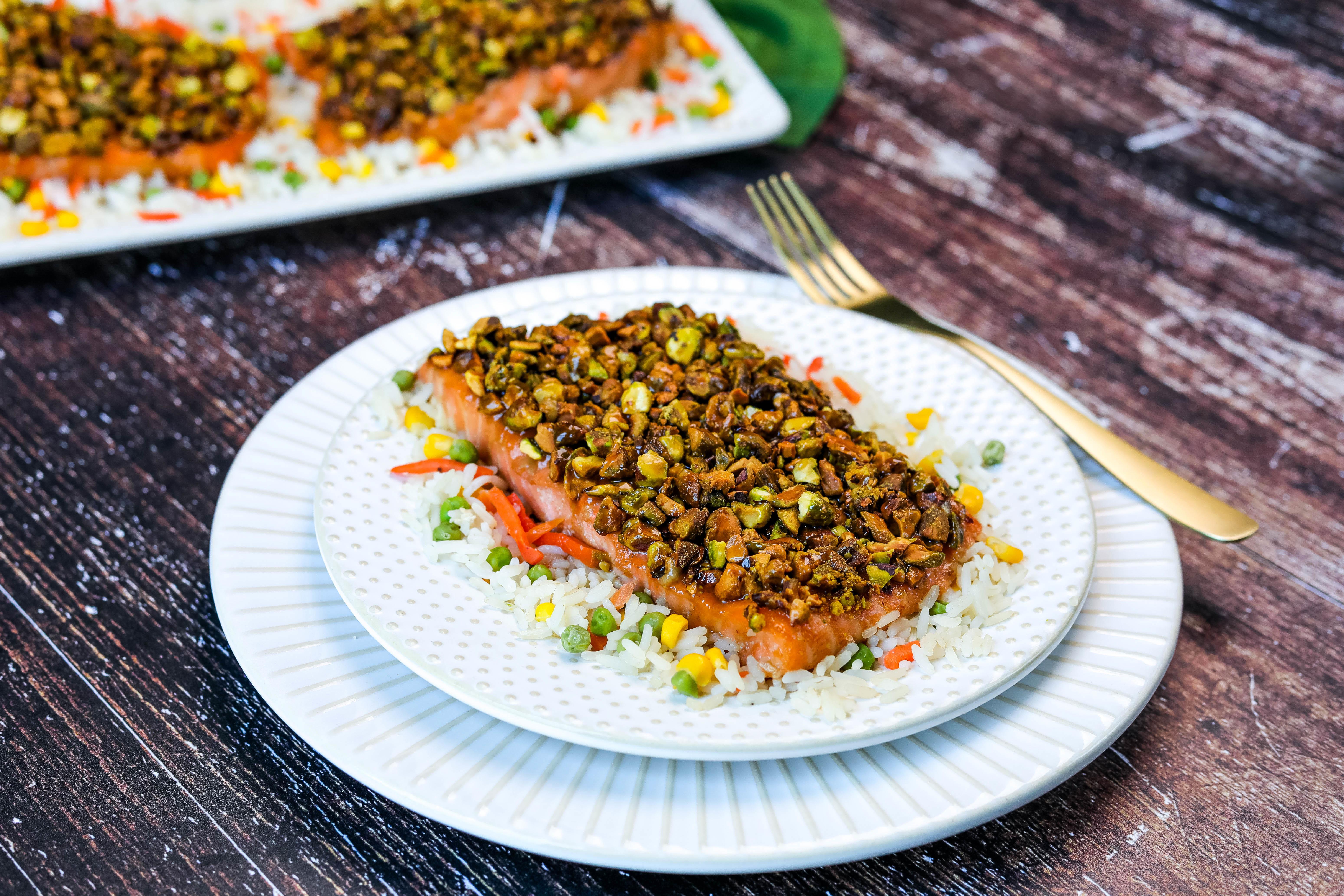 Roasted Pistachio Salmon with Maple Whiskey Sauce Recipe
