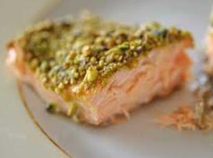 Roasted Pistachio Salmon with Maple Whiskey Sauce