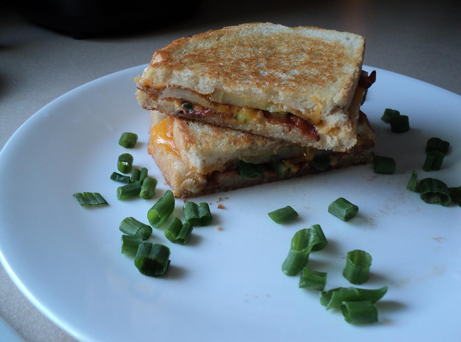 Loaded Fried Potato grilled cheese sandwich Recipe