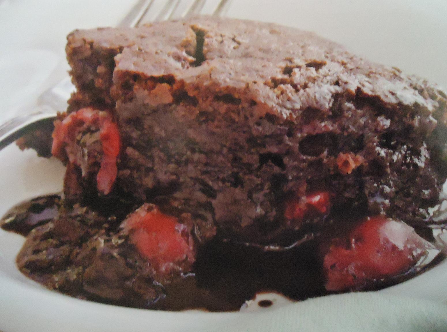 Gluten Free Chocolate Cherry Pudding Cake