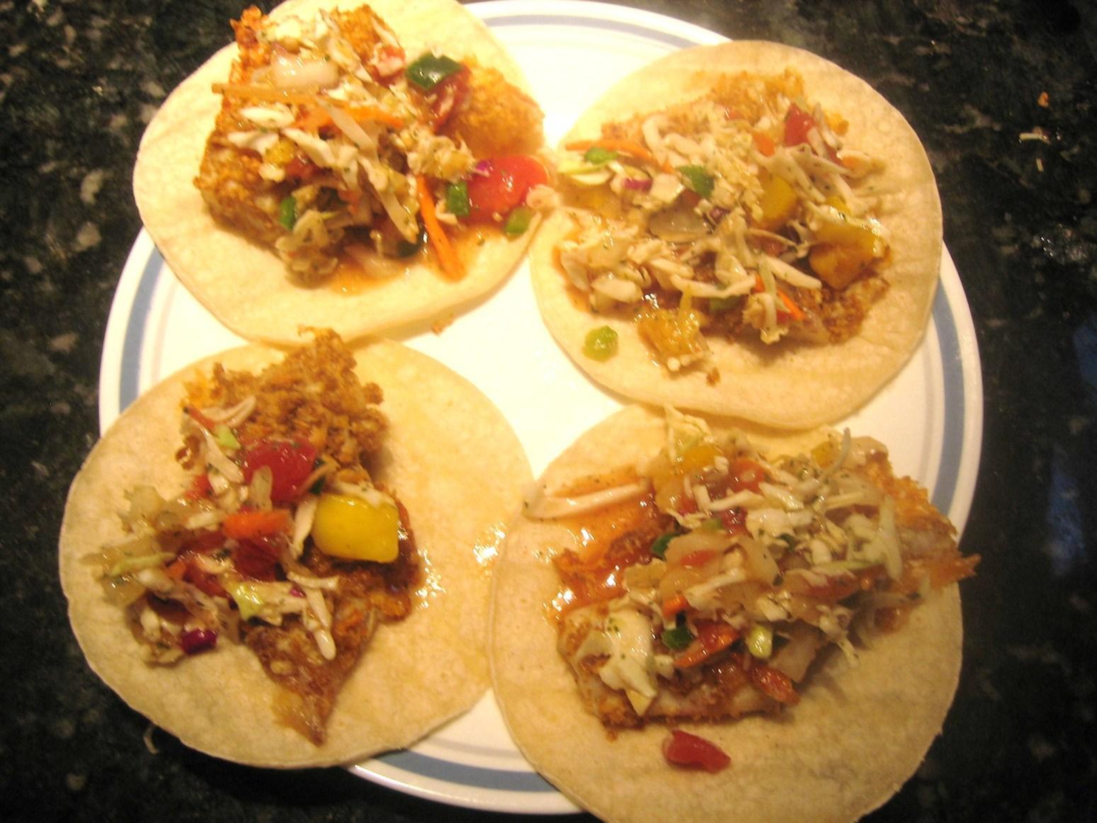 Tilapia fish tacos w fruity salsa recipe just a pinch for Tilapia fish taco recipes