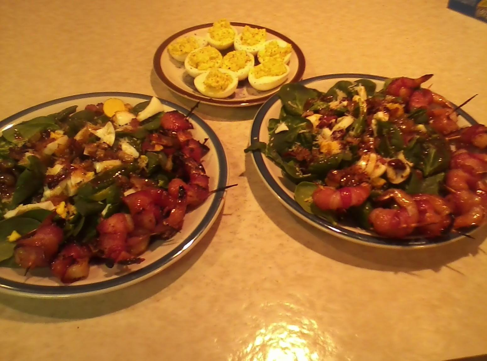 Spinach salad and grilled bacon wrapped shrimp Recipe