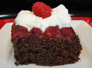 Spicy Chocolate Raspberry Upside-Down Cake with Raspberry Chantilly Cream Recipe