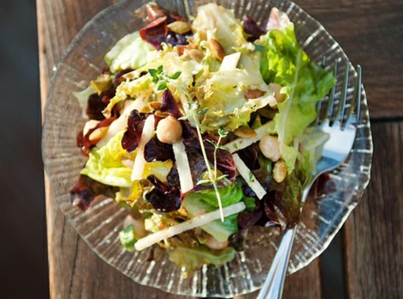 Jicama Pepita Garbanzo Salad Recipe | Just A Pinch Recipes