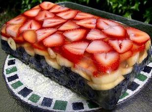 Fruit Terrine (Red White & Blue!) Recipe