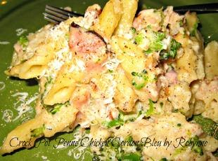 Crock Pot Penne Chicken Cordon Bleu ~Robynne Recipe