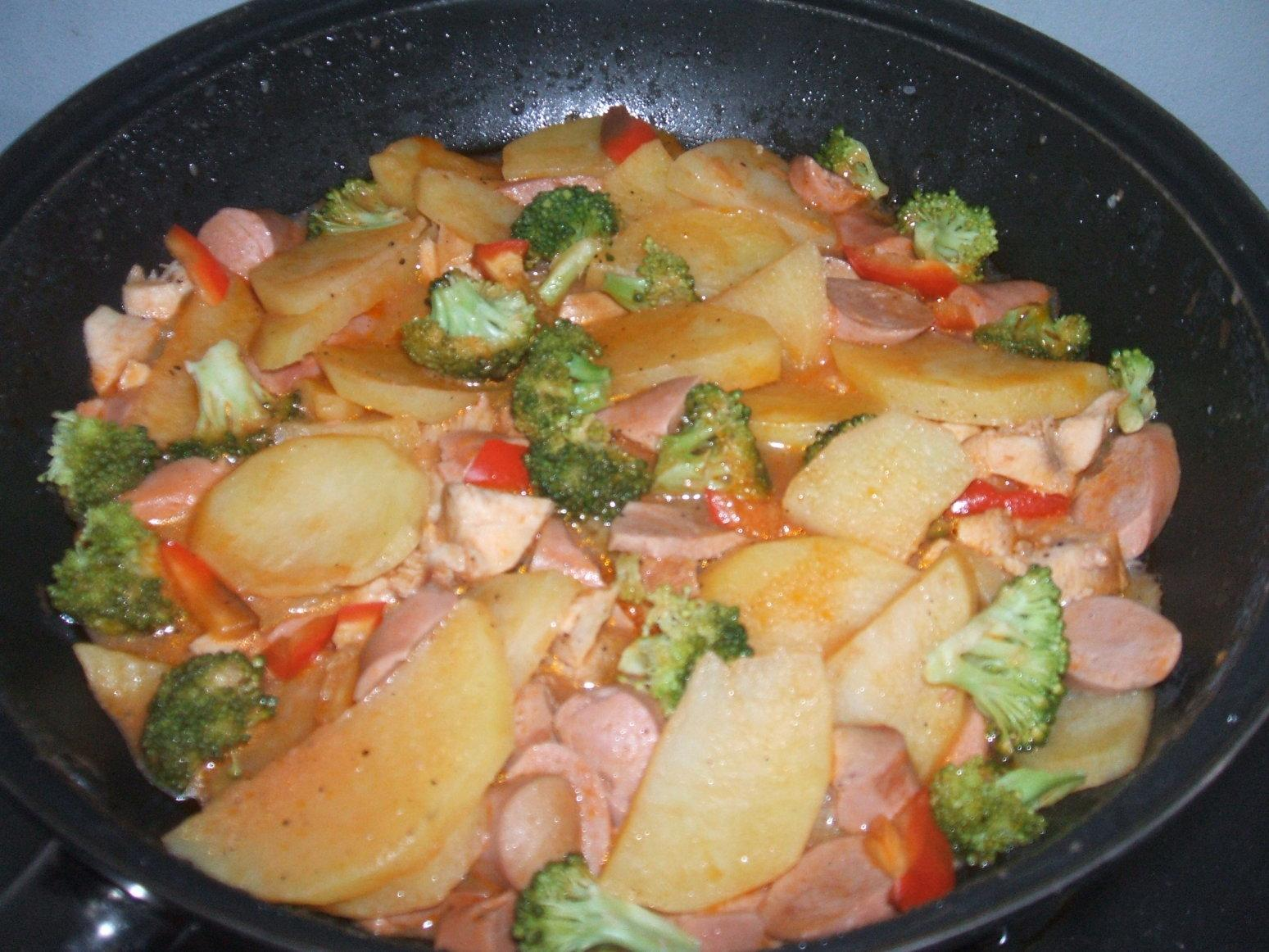 Chicken-Sausage Potato-Broccoli in Skillet Recipe