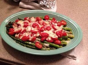 Roasted Asparagus with Tomatoes and Gorgonzola