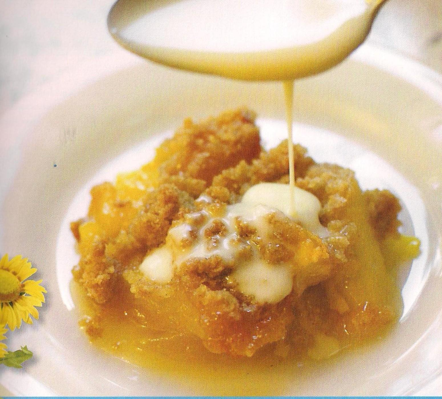 Peach Crisp with Maple Cream Sauce Recipe | Just A Pinch Recipes
