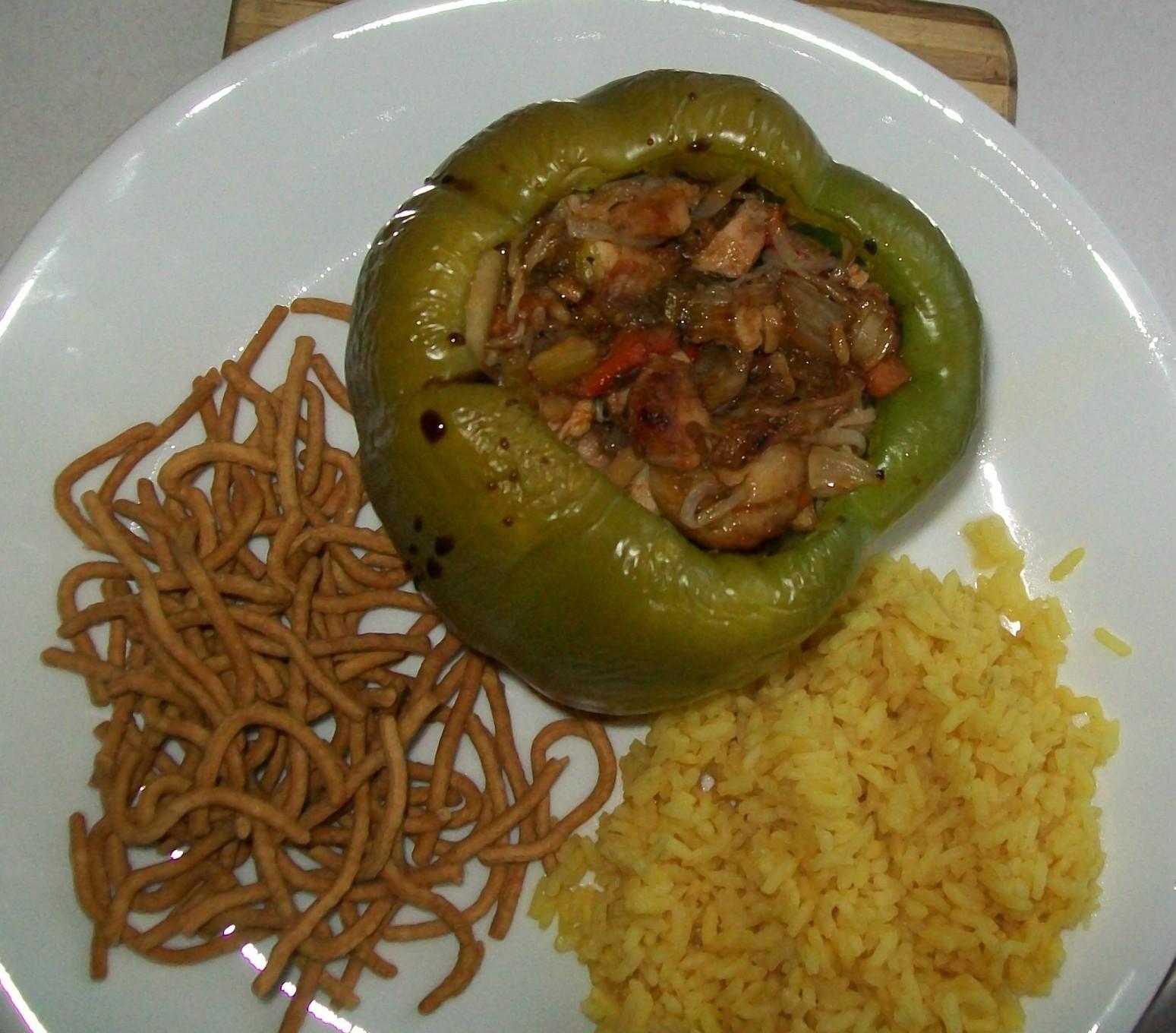 Pork chow mein stuffed green peppers Recipe