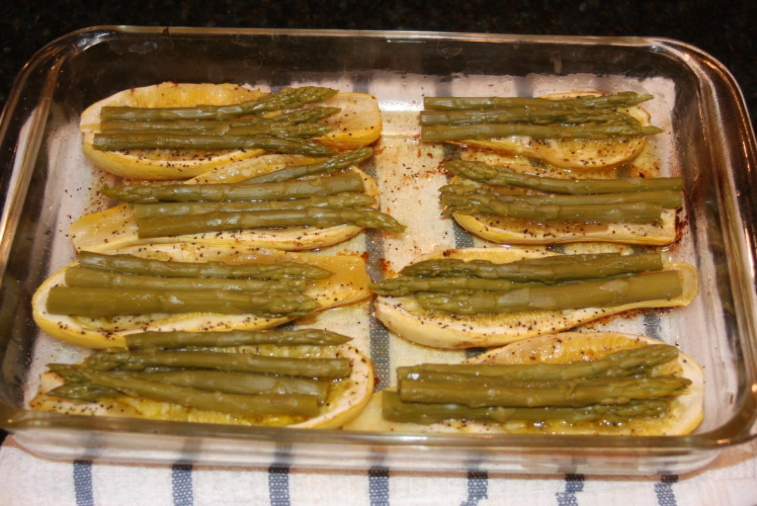 Squash, Yellow Crook Neck Baked with Asparagus Recipe